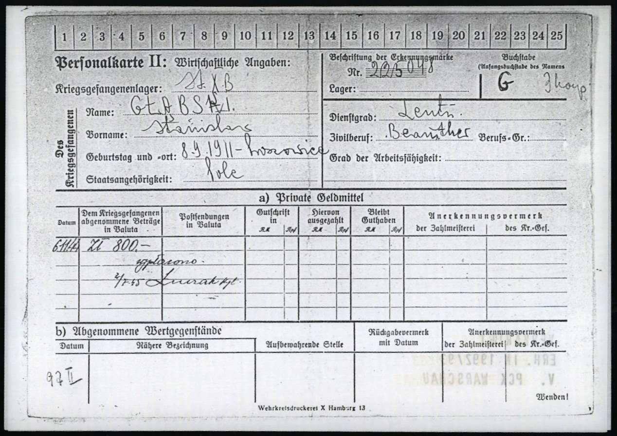 Karta z obozu jenieckiego