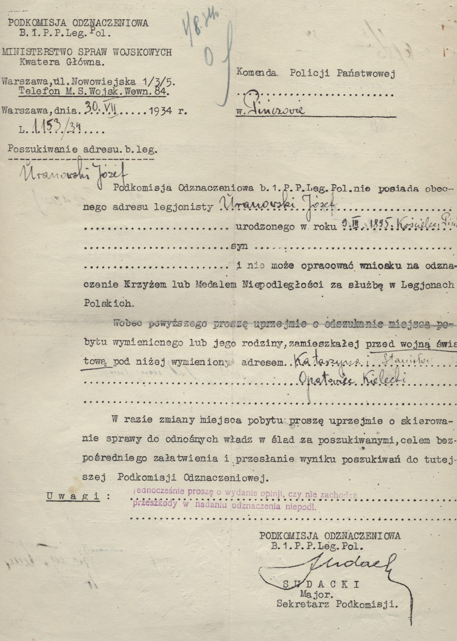 Pismo do Komendy Policji Państwowej w Pińczowie o ustalenie adresu Uranowskiego