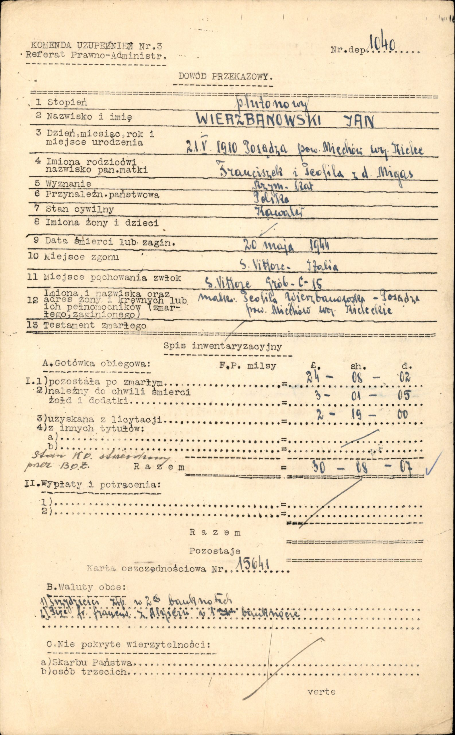 Dowód przekazania przedmiotów po Janie Wierzbanowskim