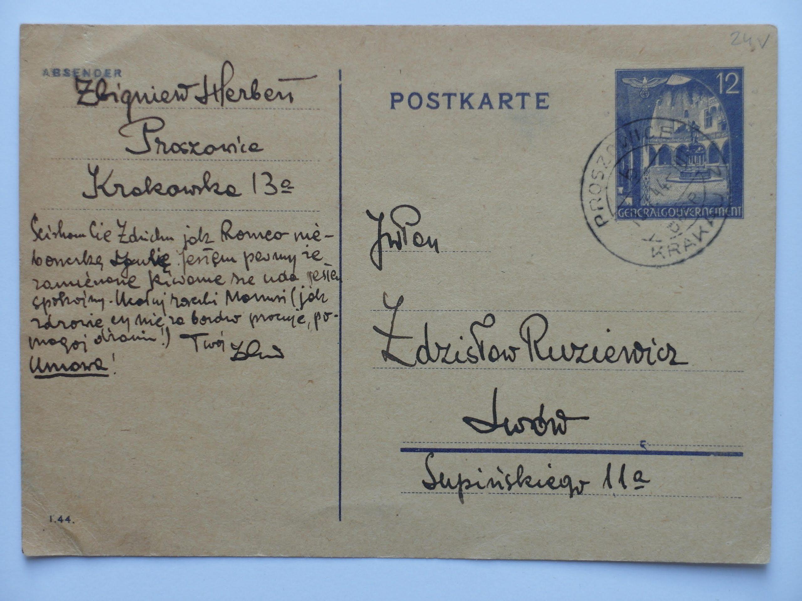 Fot. 1 Kartka pocztowa z adresem ul. Krakowska 13a (Biblioteka Narodowa, Listy Zbigniewa Herberta do Zdzisława Ruziewicza)