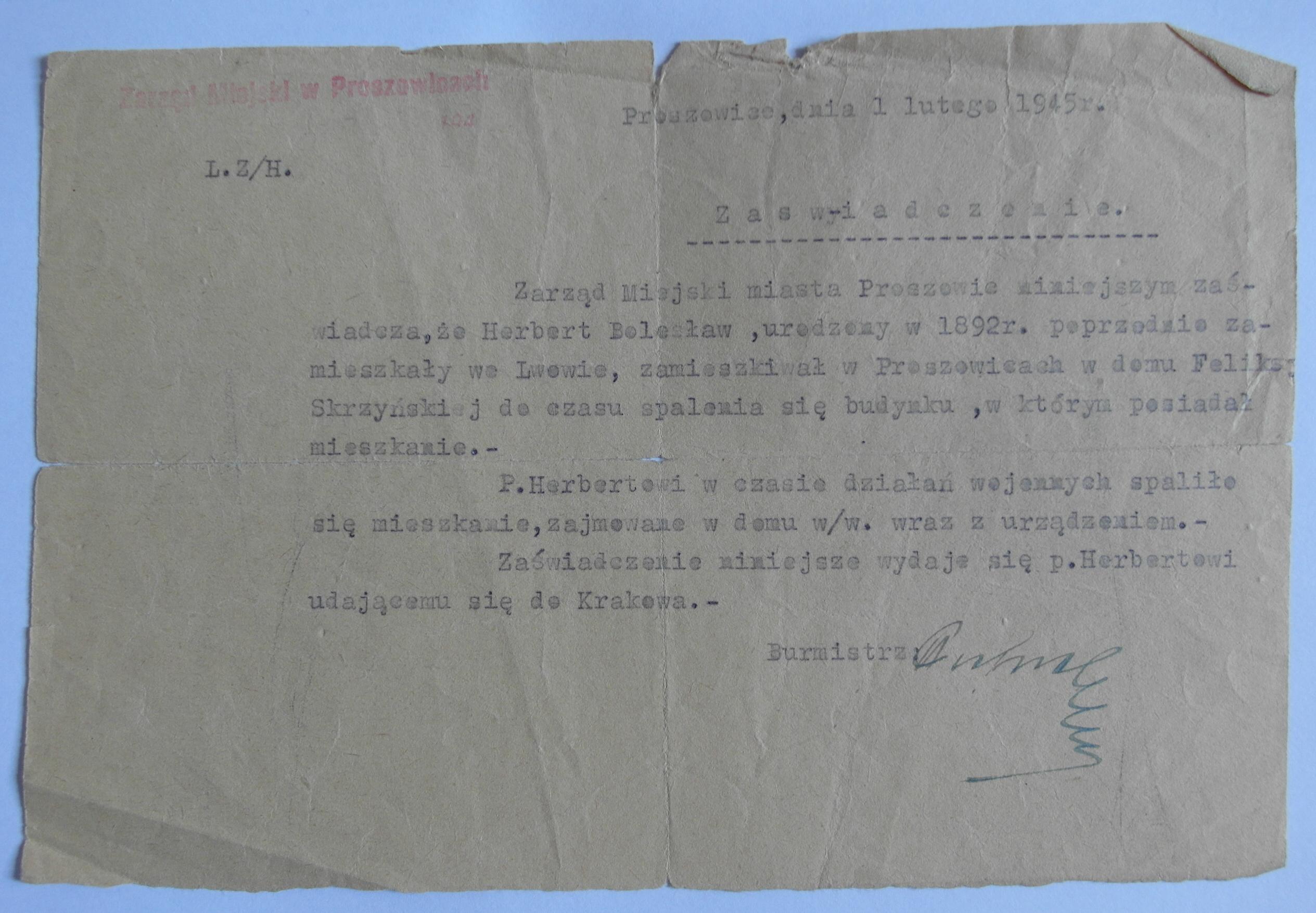 Fot. 2 Dokument poświadczający, że Herbertowie mieszkali w domu Feliksy Skrzyńskiej (Archiwum Zbigniewa Herberta w Bibliotece Narodowej, Dokumenty rodzinne)