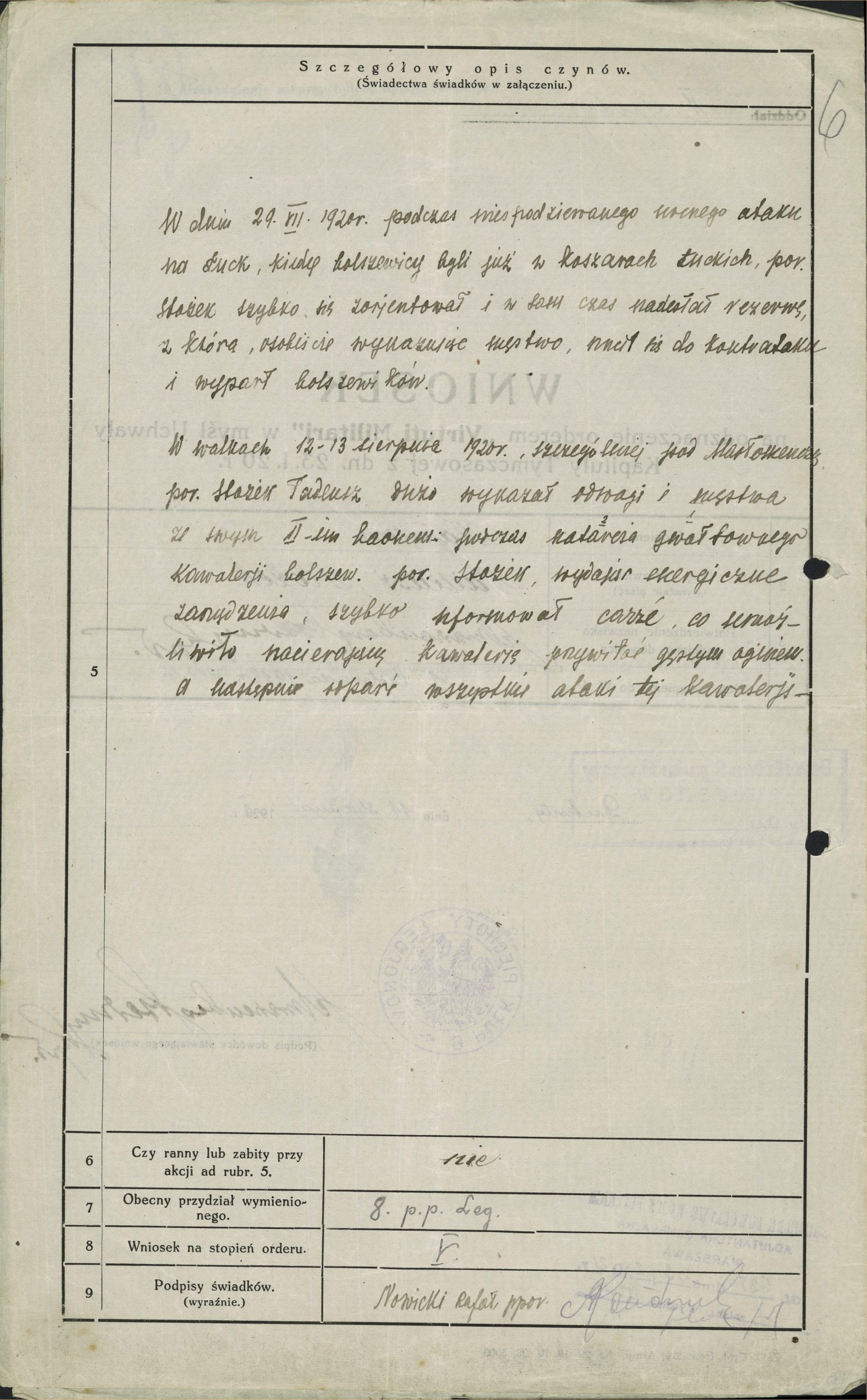 Wniosek o odznaczenie orderem Virtuti Militari